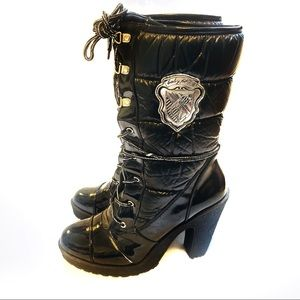 Baby Phat Black Quilted Faux Patent Boots